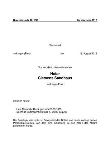 Copies of corporate documents from commercial register of Germany