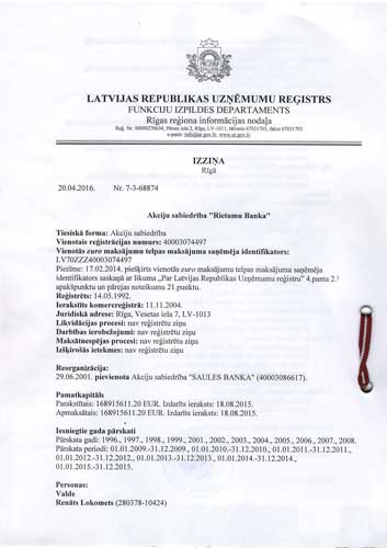 Current extract from commercial register of Latvia