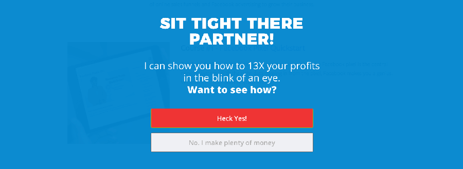 exit popups for conversions: great landing page examples