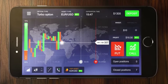 Example of a binary trading app (IQ Option)
